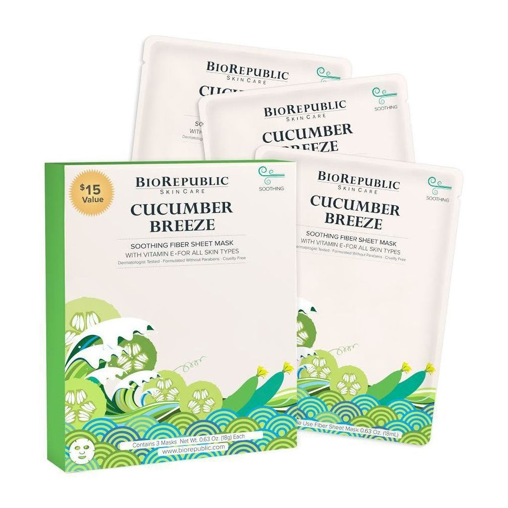 Image of BioRepublic Skincare Face Mask - Cucumber Breeze - 3ct