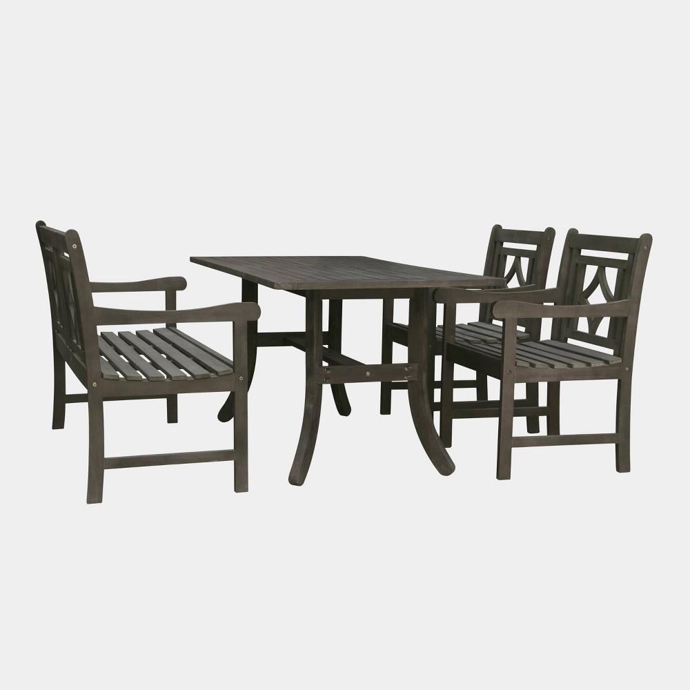 Renaissance 4pc Wood Curvy Outdoor Patio Dining Set - Gray - Vifah