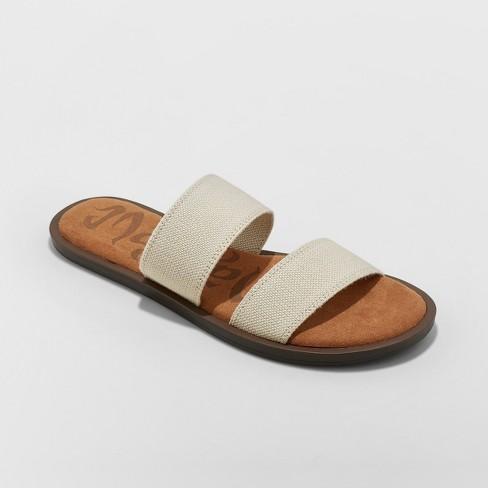 f810cea9fa3c Women s Mad Love Tahlia Elastic Two Band Slide Sandals - Tan 10   Target