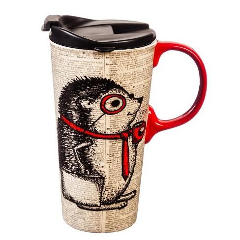 Cypress Home Ceramic Travel Cup, 17 oz., Hedgehog - image 1 of 1