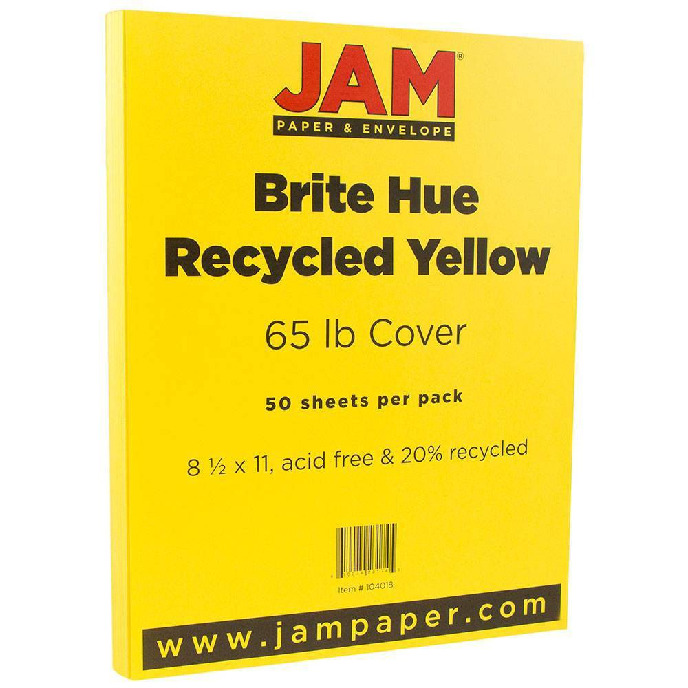 Jam Paper Brite Hue 65lb Cardstock 8 5 34 X 11 34 50pk Yellow