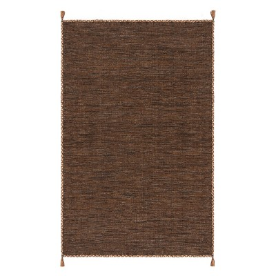 5'X8' Solid Woven Area Rug Brown/Black - Safavieh