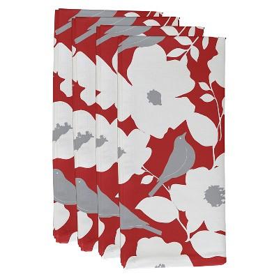 Orange Smoothie Modfloral Floral Print Napkin Set (19 X19 )- E By Design