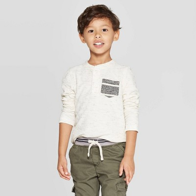 Toddler Boys' Specialty Double Knit Henley Long Sleeve T-Shirt - Cat & Jack™ Cream 18M