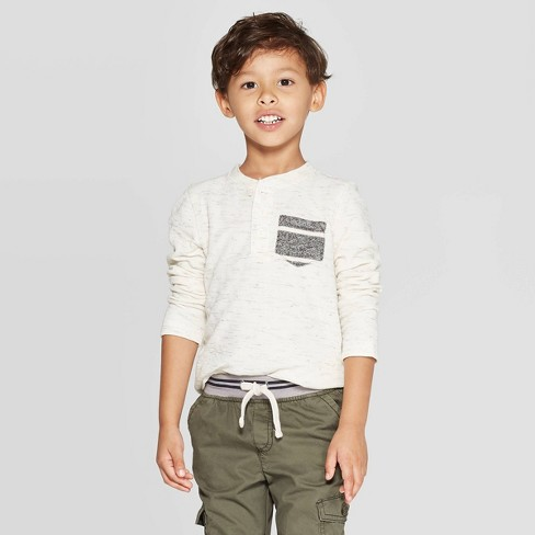 Toddler Boys' Specialty Double Knit Henley Long Sleeve T-Shirt - Cat & Jack™ Cream - image 1 of 3
