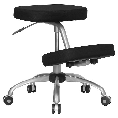 Mobile Ergonomic Kneeling Chair Black Fabric/Silver Powder Coated Frame - Flash Furniture - image 1 of 4