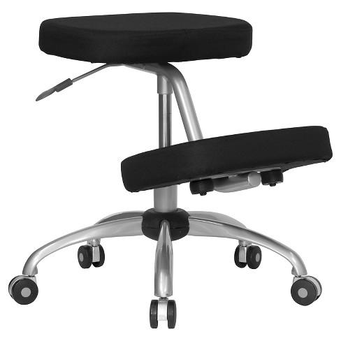 Mobile Ergonomic Kneeling Chair Black Fabric Silver Powder Coated Frame Flash Furniture