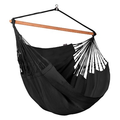 La Siesta HAL21-X9 Habana Organic Cotton Kingsize 2 Person Indoor Outdoor 360 Degree Swivel Hammock Chair with 55 Inch Bamboo Spreader Bar, Onyx