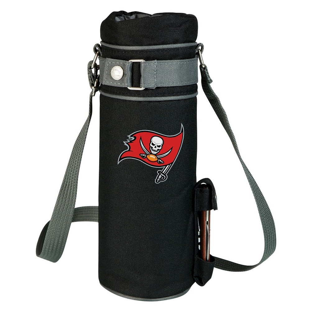 Tampa Bay Buccaneers - Wine Sack Beverage Tote by Picnic Time (Black) Those who enjoy wine will appreciate the style and simplicity of the Wine Sack, an insulated single-bottle tote with an adjustable shoulder strap. It features a stainless steel waiter-style corkscrew conveniently stored in its own secure pocket. The Wine Sack is made of polyester canvas with complementing brown trim. The tote is fully-insulated to keep your wine at the perfect temperature until you're ready to uncork it. Perfect for any occasion. When you'd like to bring your own wine to share, let the Wine Sack help you take it there! Color: Tampa Bay Buccaneers.