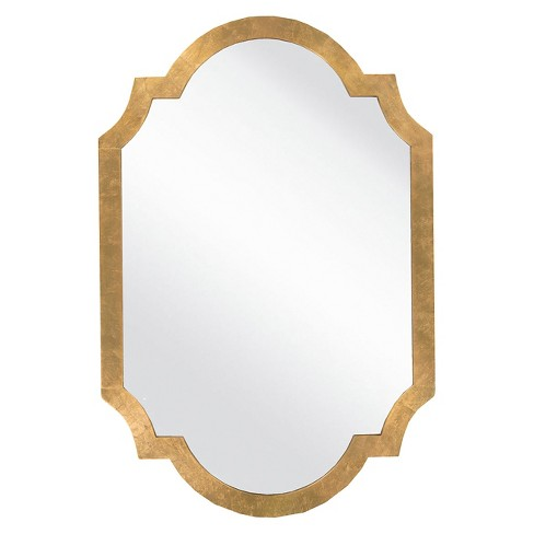 Rectangle Morley Decorative Wall Mirror Aged Gold - Surya - image 1 of 2