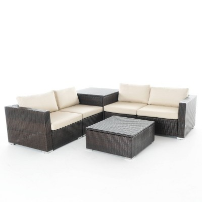 Santa Rosa 7pc All-Weather Wicker Patio Sectional Sofa Set w/ Storage - Brown - Christopher Knight Home