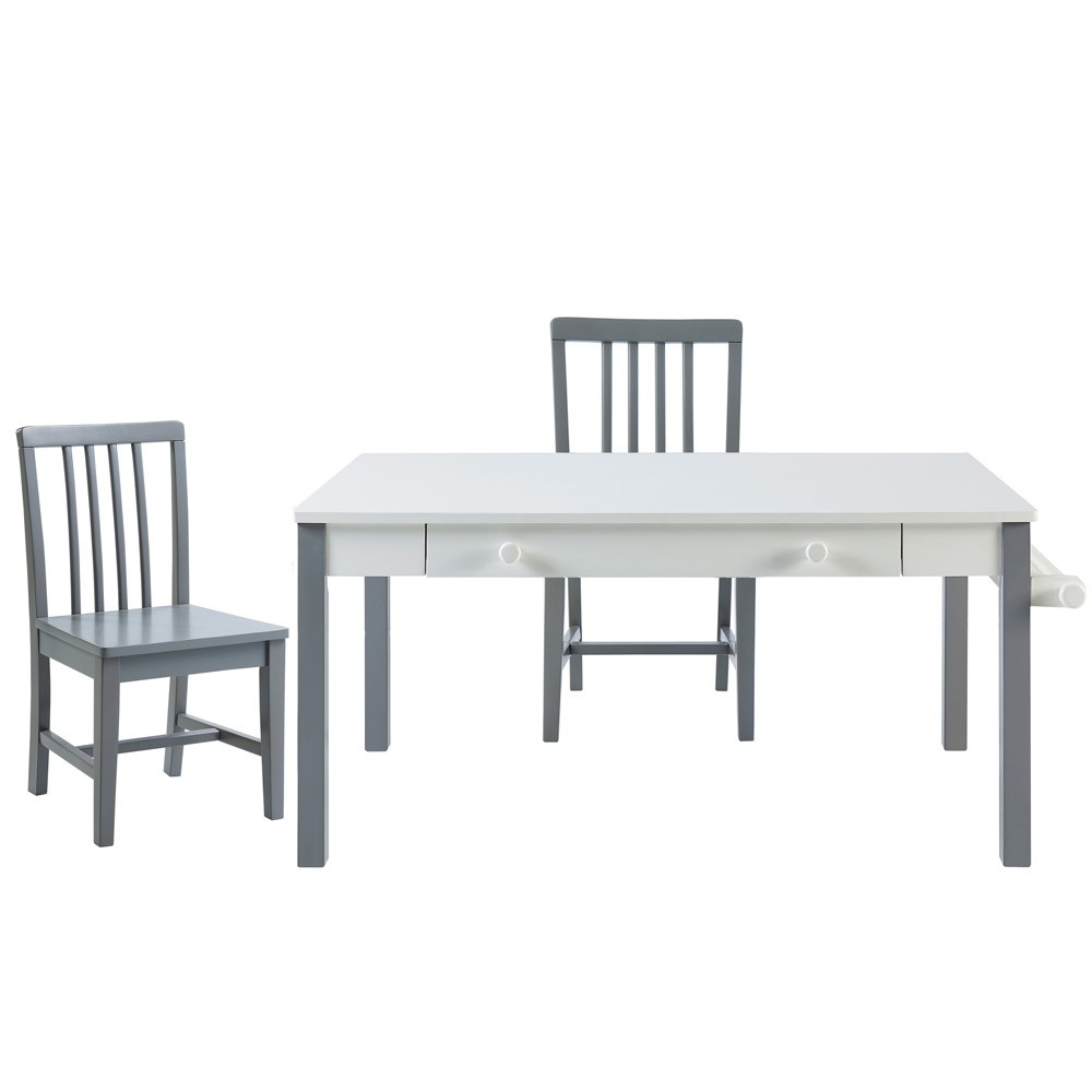 Minimalista Table & Set of 2 Chairs - White - Versanora, Natural