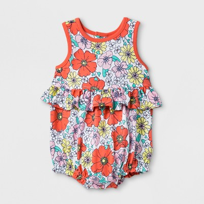 Baby Girls' Flower Romper - Cat & Jack™ Floral Print 3-6M