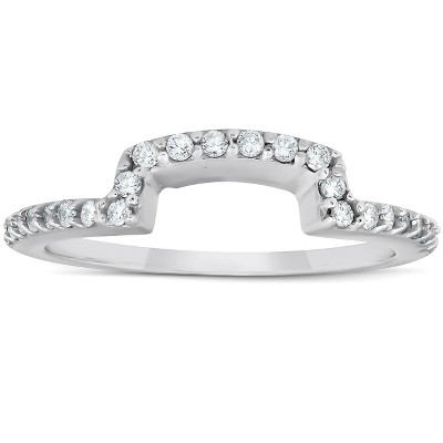 Pompeii3 1/4Ct Diamond Curved Contour Guard Band Womens Wedding Ring 14k White Gold