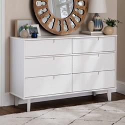 Mid Century Modern Classic Wood 6 Drawer Groove Dresser - Saracina Home