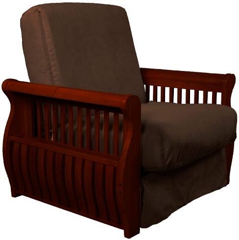 Storage Arm Perfect Futon Sofa Sleeper - Mahogany Wood Finish - Sit N Sleep - image 1 of 1