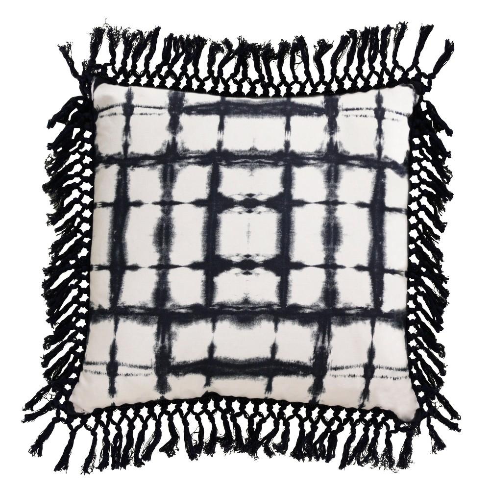enver Shibori Fringe Oversize Square Throw Pillow Black - Decor Therapy