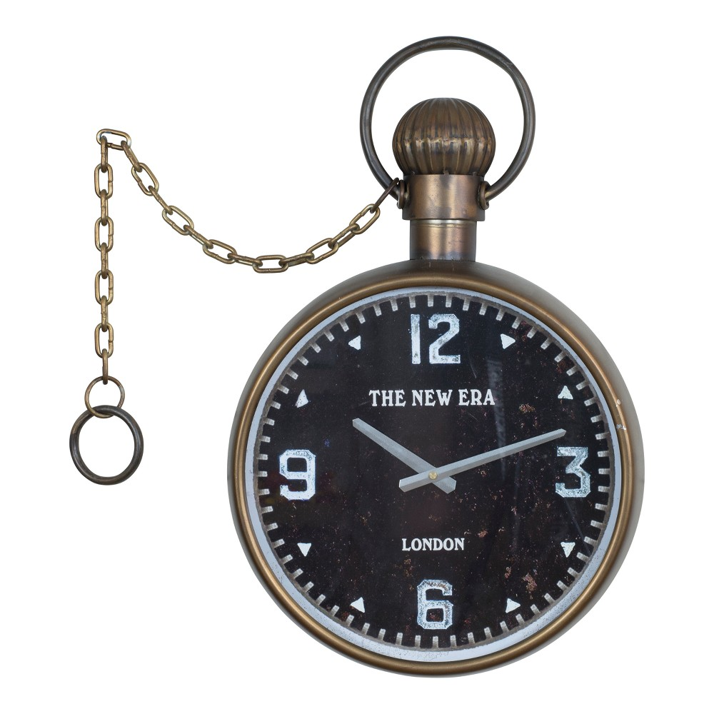 Metal Decorative Clock Golden Bronze 24