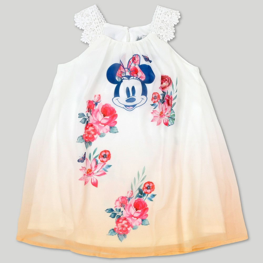 Toddler Girls' Disney Mickey Mouse & Friends Minnie Mouse Short Sleeve Dress - Yellow 18M