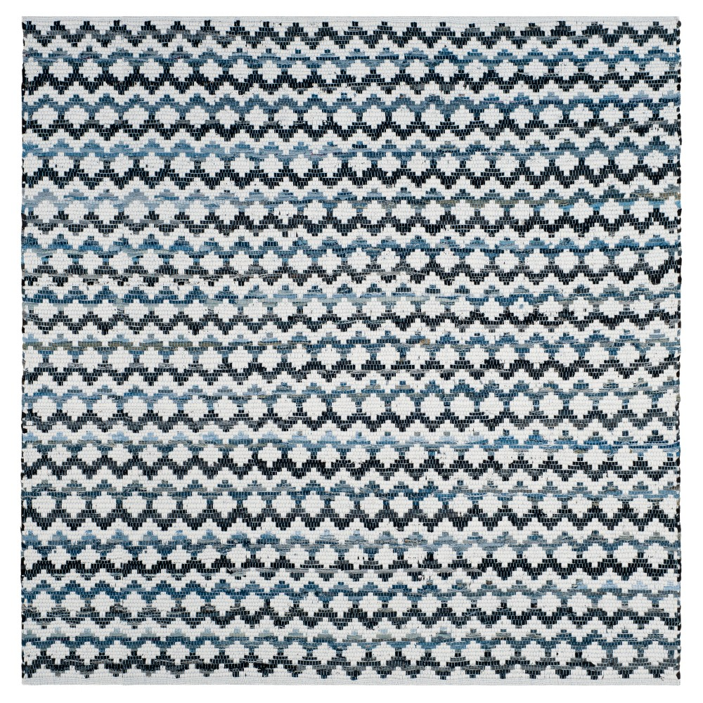 Ivory Blue/Black Stripes Woven Square Accent Rug - (4'x4') - Safavieh