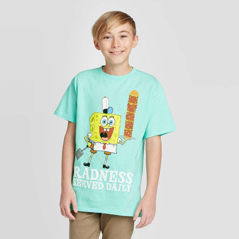 Image of Boys' SpongeBob Radness T-Shirt - Green L, Boy's, Size: Large