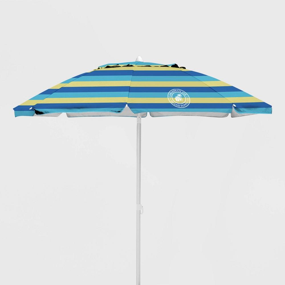 Image of Caribbean Joe Outdoor Beach Stick Umbrella - Blue/ Yellow
