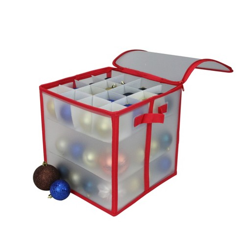 Christmas Ornament Storage.Northlight 12 Red And Clear Zip Up Christmas Ornament Storage Bag Holds 64 Ornaments