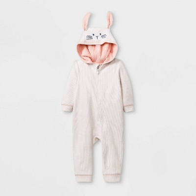 Baby Long Sleeve Texture Bunny Romper - Cat & Jack™ Light Peach 0-3M