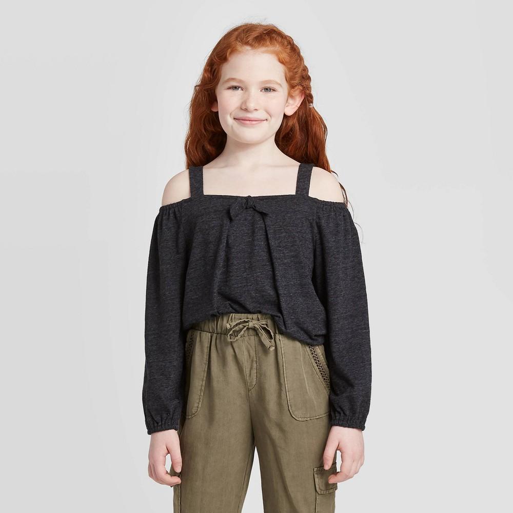Image of Girls' Cold Shoulder Knit Top - art class Black L, Girl's, Size: Large