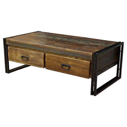 Old Reclaimed Wood Coffee Table With Double Drawers 16h X 41w 24d Natural Timber