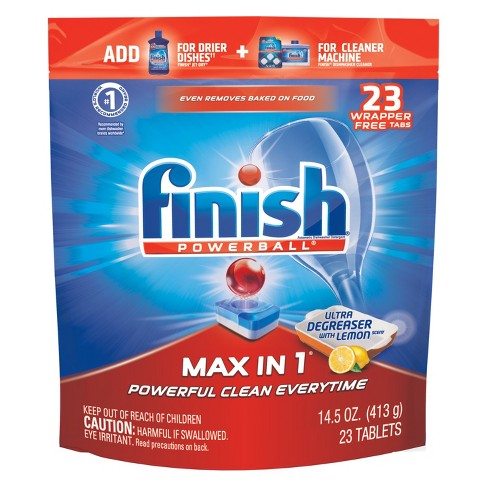 Finish Powerball Tabs Max in 1 Ultra Degreaser with Lemon - 23ct - image 1 of 3