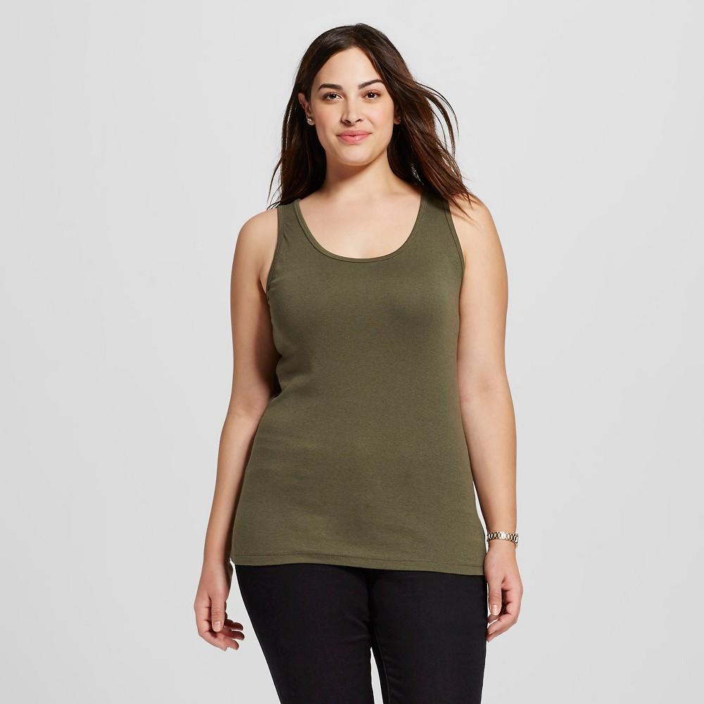 Women's Plus Size Basic Tank - Ava & Viv - Olive (Green) 4X