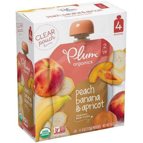 Plum Organics Stage 2 Organic Baby Food, Peach, Banana & Apricot - 4oz (Pack of 4) - image 1 of 4