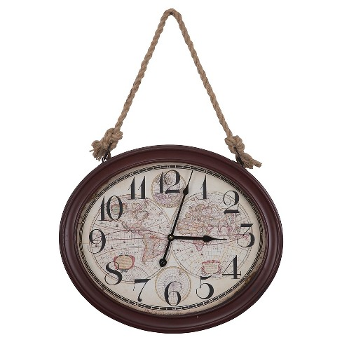 Hanging Oval Wall Clock Rustic Red - Yosemite Home Decor® - image 1 of 2