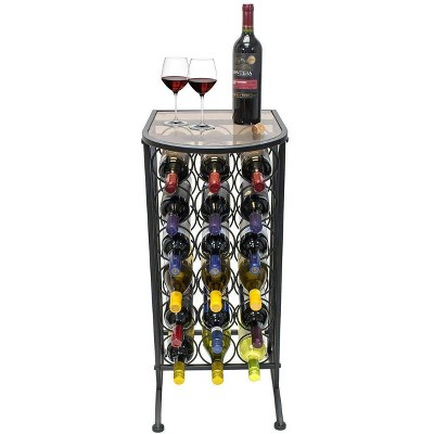 18 Bottle Wine Stand with Glass Top Black - Sorbus