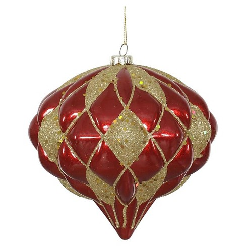 "6"" Red/Gold Matte/Glitter Diamond Onion Christmas Ornament - image 1 of 1"