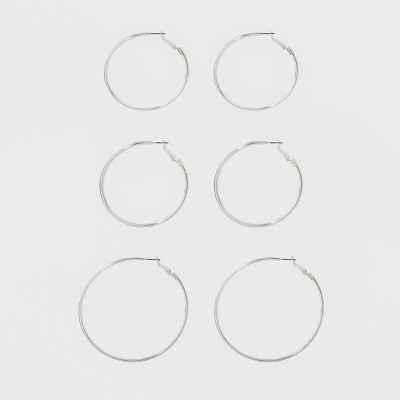 Hoop Earring Set 3ct - A New Day™ Silver