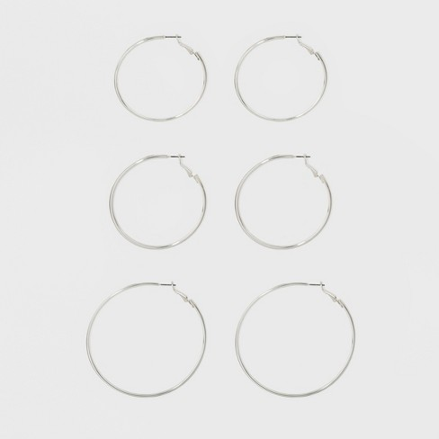 Hoop Earring Set 3ct - A New Day™ Silver - image 1 of 1