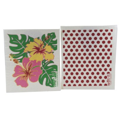 """Swedish Dish Cloth 7.75"""" Happy Hibiscus & Red Dots Absorbant Cleaning Cloth  -  Dish Cloth"""
