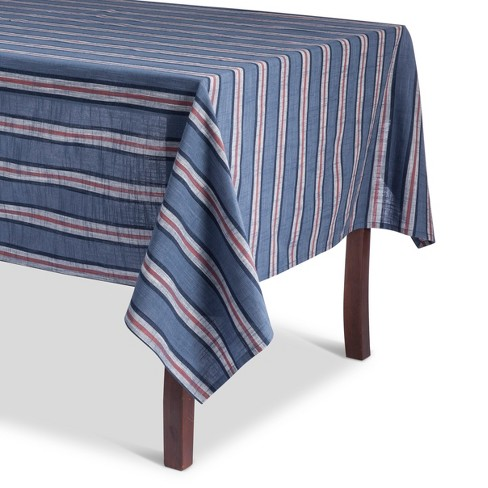 Metallic Blue Stripe Tablecloth - Threshold™ - image 1 of 1