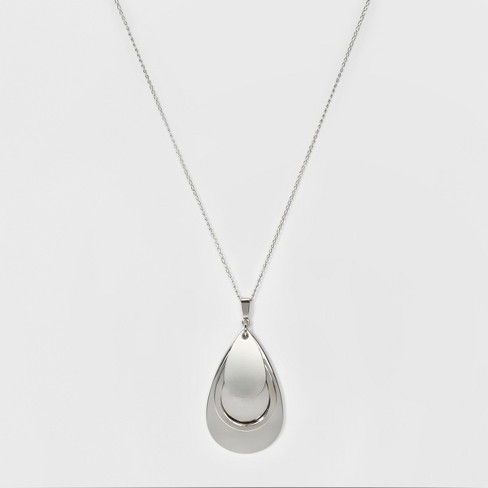 Women's Teardrop Three Layer Necklace - A New Day™ Silver - image 1 of 3