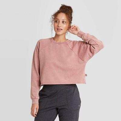 Women's French Terry Acid Wash Pullover Sweatshirt - JoyLab™ Rose L