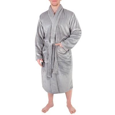 Hudson Home Collection Mens Boy Shawl Collar Plush Robe, Gray, Large X-Large (Lxl)