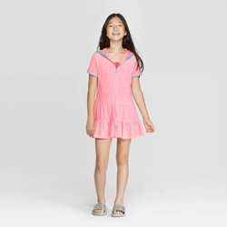 Girls' Hooded Ruffle Cover-Up Dress - Cat & Jack™ Coral