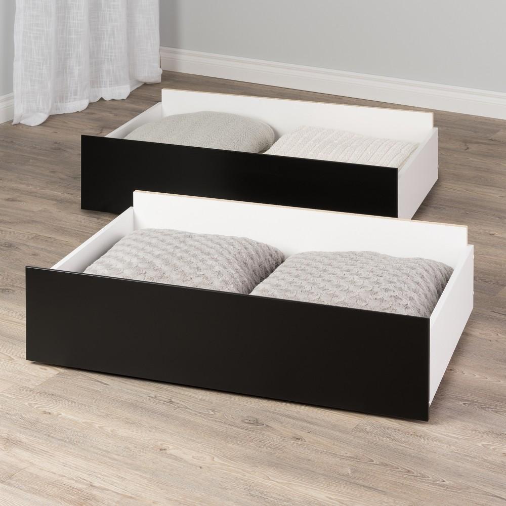 Set of 2 Select Storage Drawers On Wheels Black - Prepac