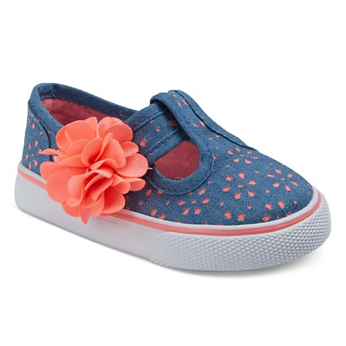Girls' Genuine Kids® Amina Chambray Eyelet T-Strap Sneakers - Navy - image 1 of 3