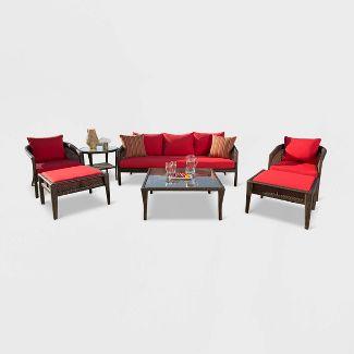 Encino Sunbrella Outdoor Wicker 7pc Patio Conversation Set - Red - Abbyson Living