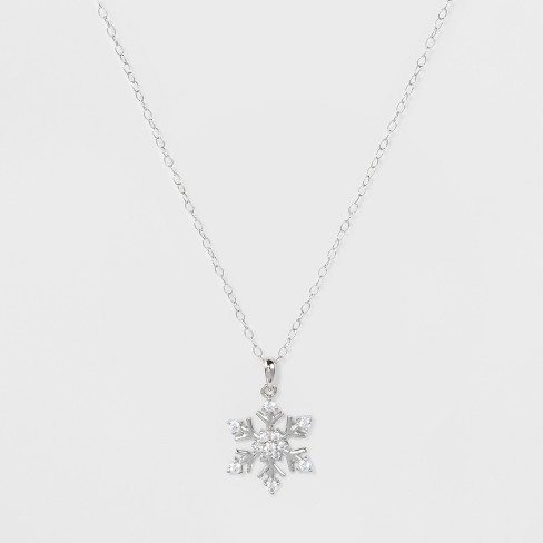 "Pendant Sterling Silver Snowflake with Cubic Zirconia on Cable Chain - Silver/Clear (18"") - image 1 of 2"