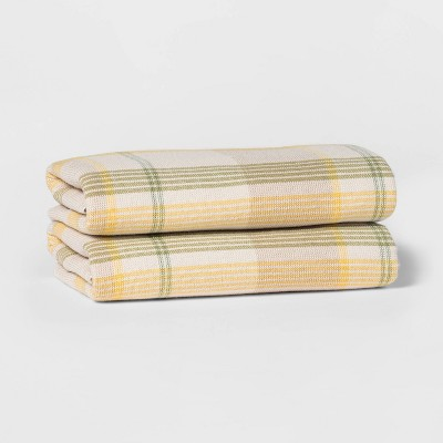 2pk Terry Plaid Hand Towel Set Yellow/Green - Threshold™