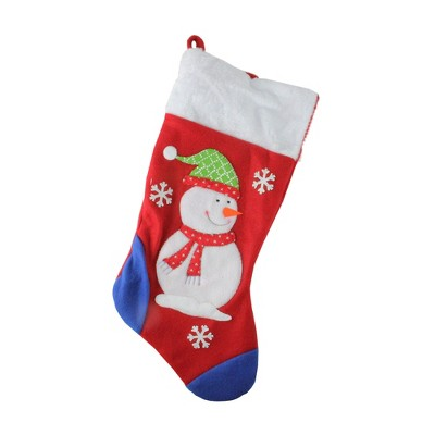 Northlight 19'' Red and Blue Plush Cuff Snowman Christmas Stocking